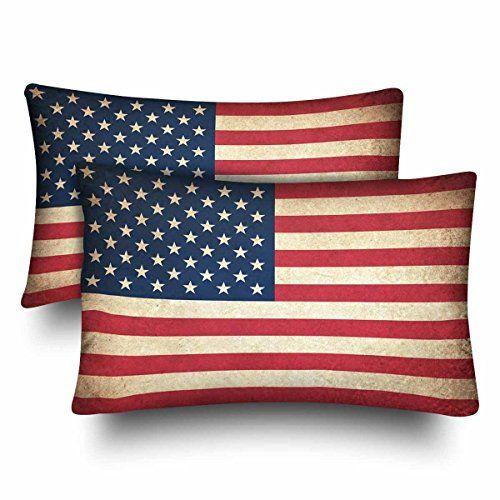 Deffwb Retro Vintage American Flag Patriotic Star Stripe Usa Flag Pillow Cases Pillowcase Standard Size 18 Rectangle Pillow Vintage American Flag Pillow Covers