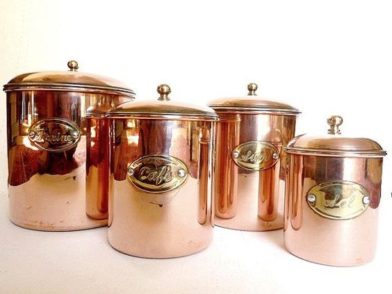 French Copper Canisters.Housewares .Kitchen decor by CabArtVintage, $85.00