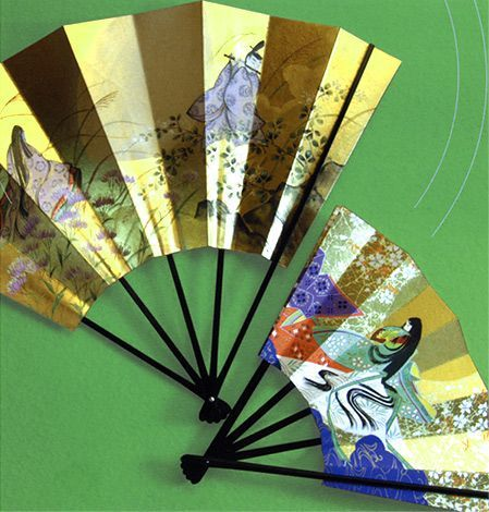 Fans with heian designs of people dressed in heian robes.