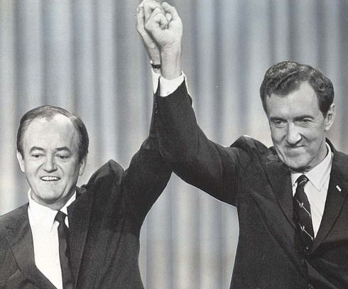 April 27, 1968   VICE-PRESIDENT HUMPHREY ANNOUNCES CANDIDACY   Vice-President Hubert H. Humphrey announced today that he is a candidate for the 1968 Democratic nomination for President of the United States.