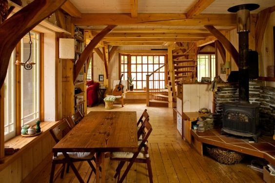 Small Timber Frame Home Dining Room Seriously Spacey
