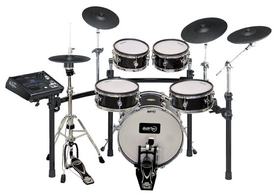 """Diabolo kit with pro series snare, """"real feel"""" kick, and Roland cymbals."""