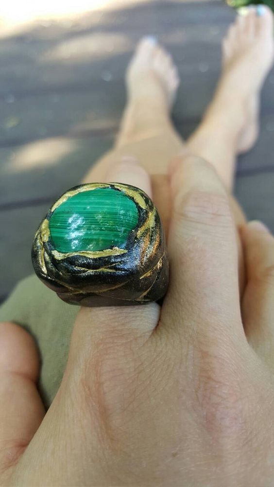 Malachite Statement Ring // natural stone jewelry // funky rings // big rings // unique // ooak jewelry // boho // bohemian style //  Sz 6  This ring is totally one of a kind. Hand formed and painted. Set with a large malachite stone. This item is ready to ship