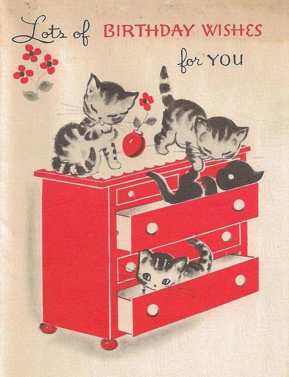 Vintage Kittens Birthday Card