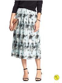 Factory Print Pleated Midi Skirt