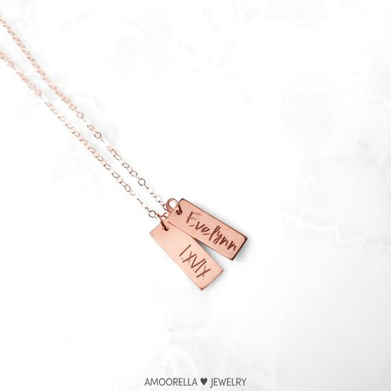Baby Name Birthday Necklace, Roman Numeral Date Tag, Personalized Tag Necklace, Kids Name Pendant,Short Vertical Bar,Reversible Double Sided