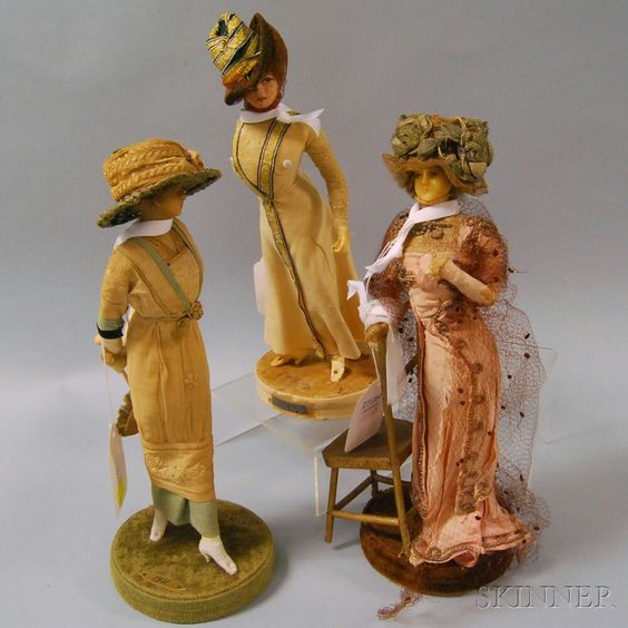 Three Lafitte-Desirat Wax Fashion Dolls: