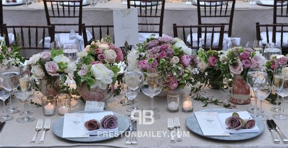 centerpiece long table low centerpieces peony reception roses table setting vase wedding color|cream color|green color|lilac color|pink color|white
