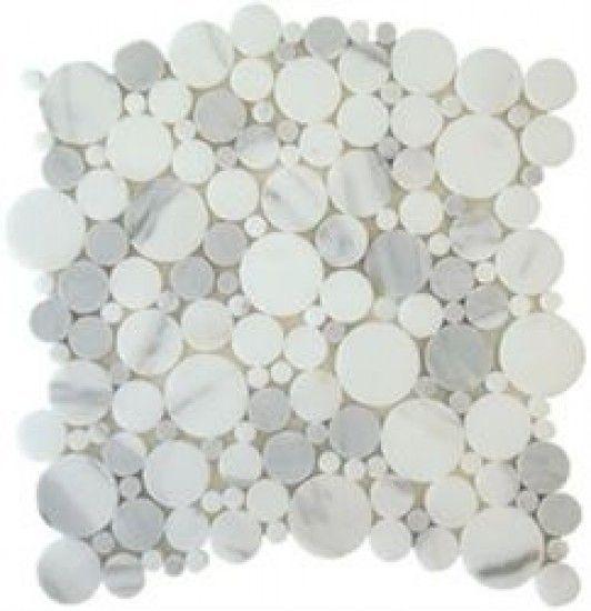 Random Circle Italian Calacatta Gold Marble Bubble Pattern