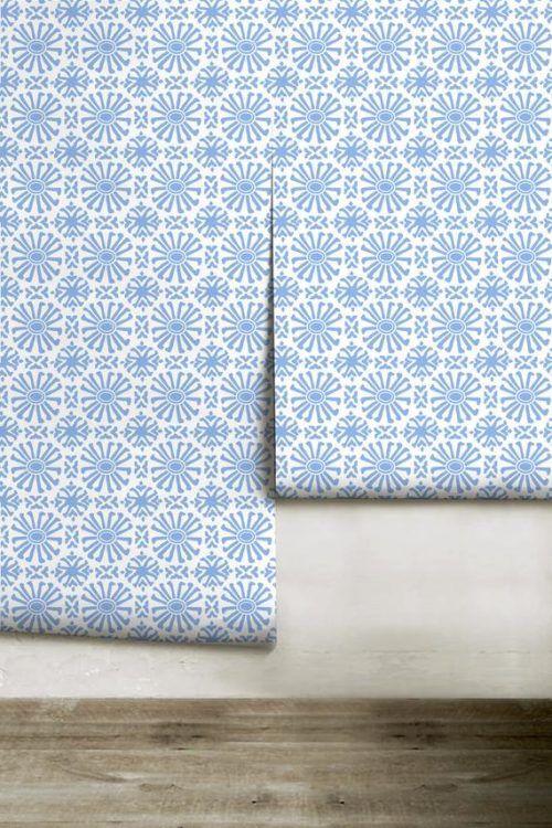 Blue Tile Pattern Peel And Stick Wallpaper Peel And Stick Wallpaper Powder Room Design Peel N Stick Wallpaper