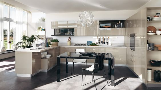 Mink gloss white modern open kitcen design feats kitchen cabinets and cupboard mixed with iron grey shelves wall claddings.jpg? Pinteres?