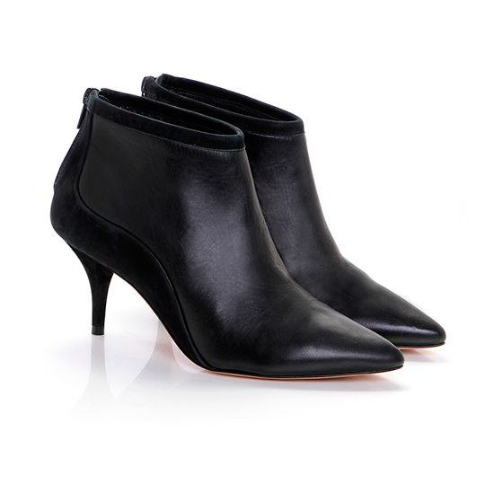 Leather kitten heel ankle boots | Black | Smooth, The shape and ...