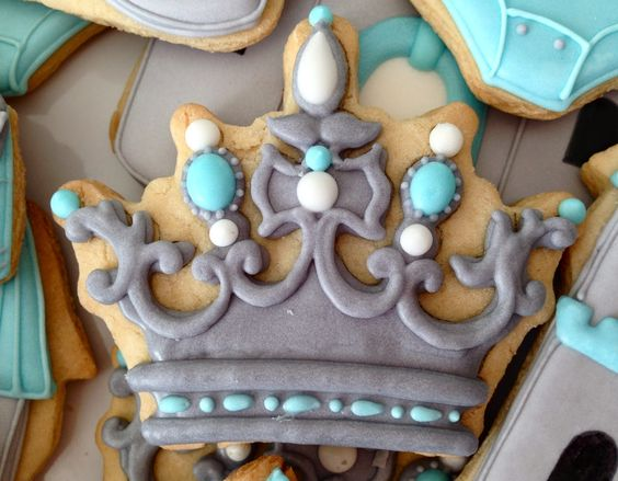 Crown cookies       By Oh Sugar Events, blue, grey, white, princess