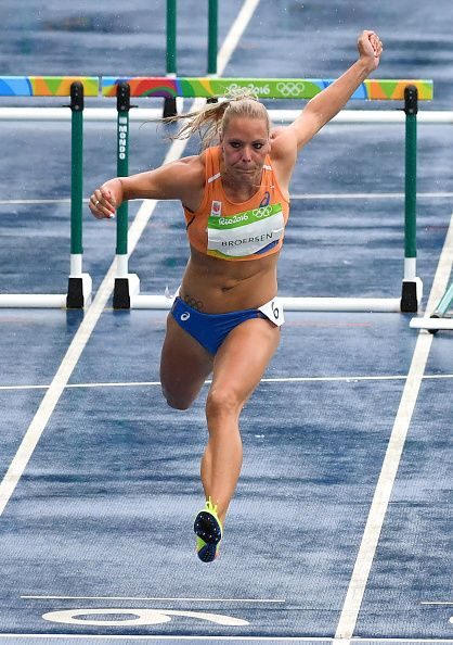 #RIO2016 Netherlands' Nadine Broersen competes in the Women's Heptathlon 100m Hurdles during the athletics event at the Rio 2016 Olympic Games at the Olympic...