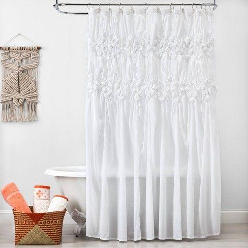 Ruched Shower Curtain White Opalhouse Boho Bathroom Curtains