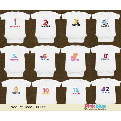 First 1 12 Month Milestone Baby Rompers Monthly Onesies Set Of 12 Monthly Onesies Thoughtful Baby Shower Gifts One Year Baby Gift