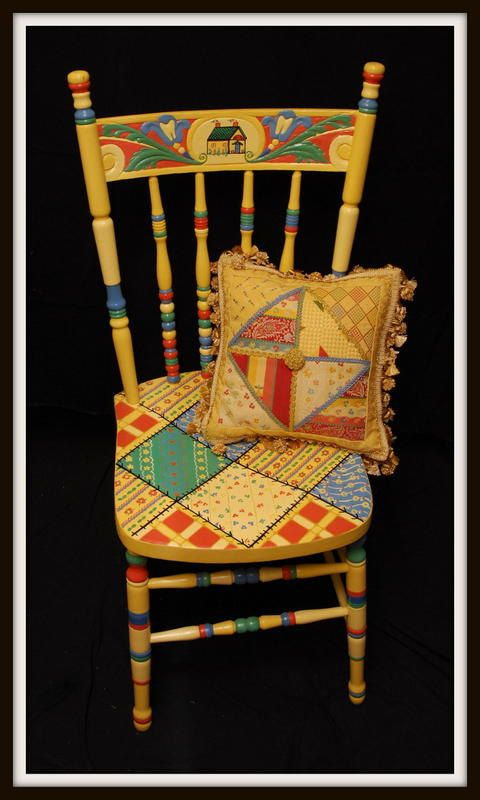 Hand Painted Decorative Chair: