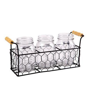 Another great find on #zulily! Chicken Wire Mason Jar Flatware Caddy #zulilyfinds