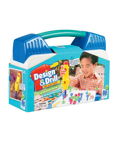 It's always tool time with this jam-packed activity center that encourages little guys and gals to power up like Picasso! With real power-tool action, this take-along kit lets sweeties bring the construction creativity along. Just grab some bolts, rev up the drill and create colorful designs! They'll have such a great time, they won't even know the Design & Drill is helping their fine motor skills, coordination and creative thinking.