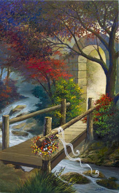A ponte e a cesta de flores - Pittura,  50x80 cm ©2011 da Carlos V. Pinto -                            Arte figurativa, Óleo sobre tela de Carlos V. Pinto. Beleza, poesia, plasticidade, flores, floresta, rio, portal.