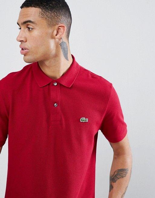 Lacoste Polo Shirts Men Burgundy Slim Fit Pique Polo Sale ...