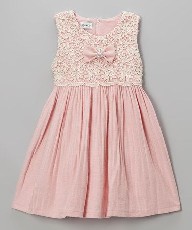 Take a look at this Pink Lace Pleated Dress - Girls by Bijan Kids on #zulily today!: