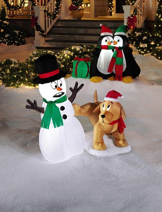 Snowman dog airblown 4 foot yard outdoor decor inflatable for Airblown christmas decoration