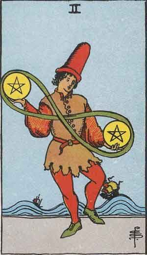 Tarot Card by Card | Theresa Reed, The Tarot Lady | The Two of Pentacles is discussed in this week's installment. #Tarot #tarottips