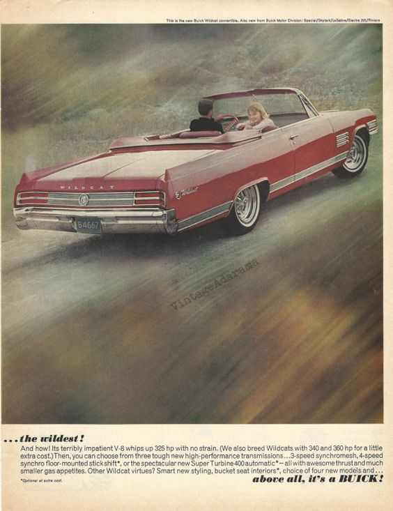 1964 Buick Wildcat Automobile Original 1963 by VintageAdOrama, $12.95