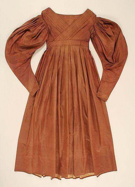 1832-33, Tageskleid aus Seide und Baumwolle, USA