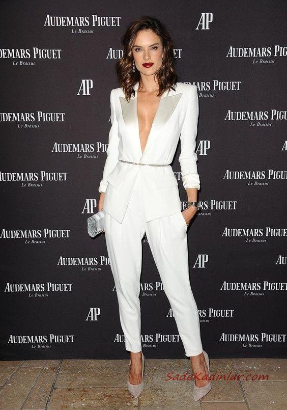 2019 Bayan Takim Elbise Kombinleri Beyaz Cepli Kalem Pantolon Uzun Kemerli Ceket Vizon Stiletto Ayakkabi Gri Abiye Canta Takim Elbise Elbise Kiyafet