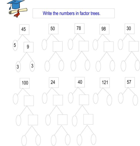 Printables Factor Tree Worksheets trees factors and student centered resources on pinterest greatest common factor tree