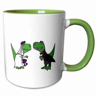 East Urban Home Funny T Rex Dinosaurs Bride And Groom Wedding Art Coffee Mug Wedding Art Painted Mugs T Rex Humor