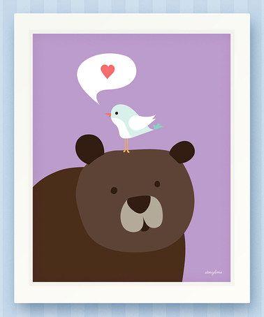 Violet Bird & Bear Print