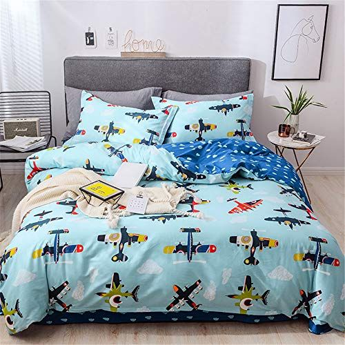 Lelva Boys For Bedding Sets Full Size Airplane Print Duvet Cover