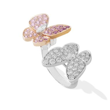 Two butterfly Between the Finger RingTwo whimsical butterflies offer a striking contrast for this enchanting ring combining diamond-set white gold and pink sapphire-set pink gold