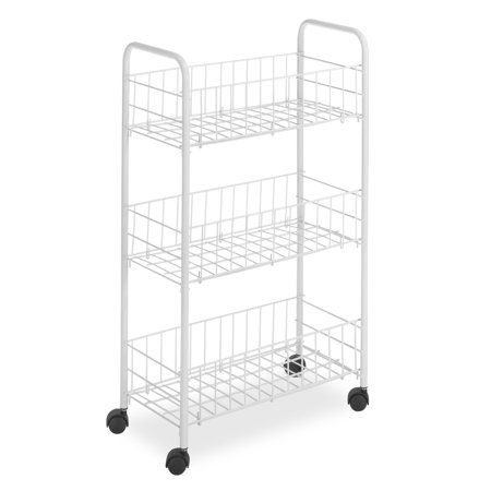 Whitmor 3 Tier Small Wire Craft Rolling Cart White Walmart Com
