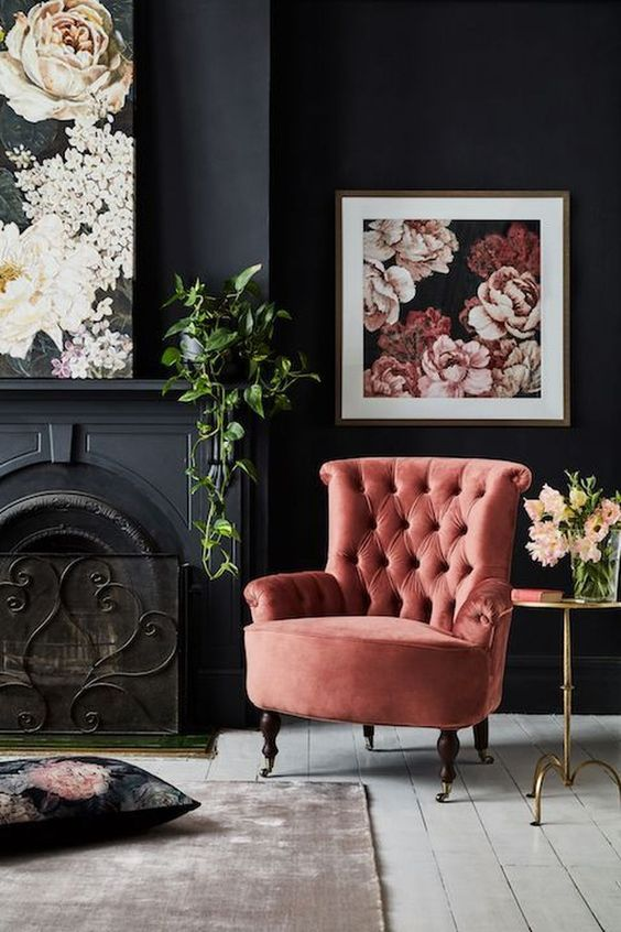 I love the colors in this room. Dark slate with a blush work well together in contrasting but keeping the dignity of the room.