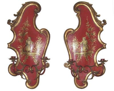 Pair Vermilion Red Japanned Wooden & Tole Metal Chinoiserie Style Sconces