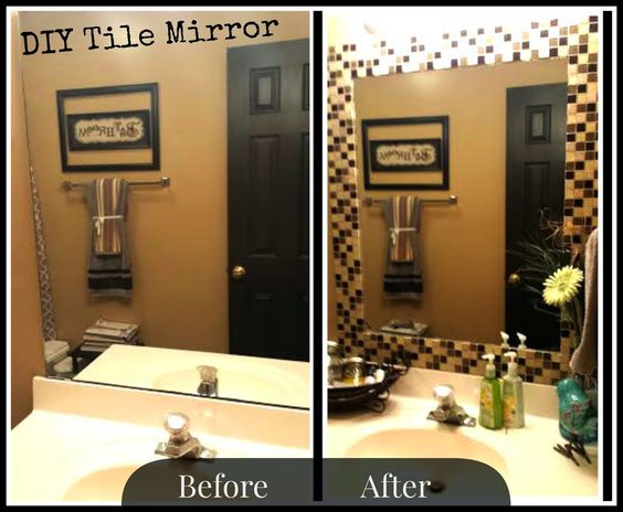 DIY tile mirror frame. Project Sapphire  DIY Tile Mirror HOLY MOLY  I may be doing this