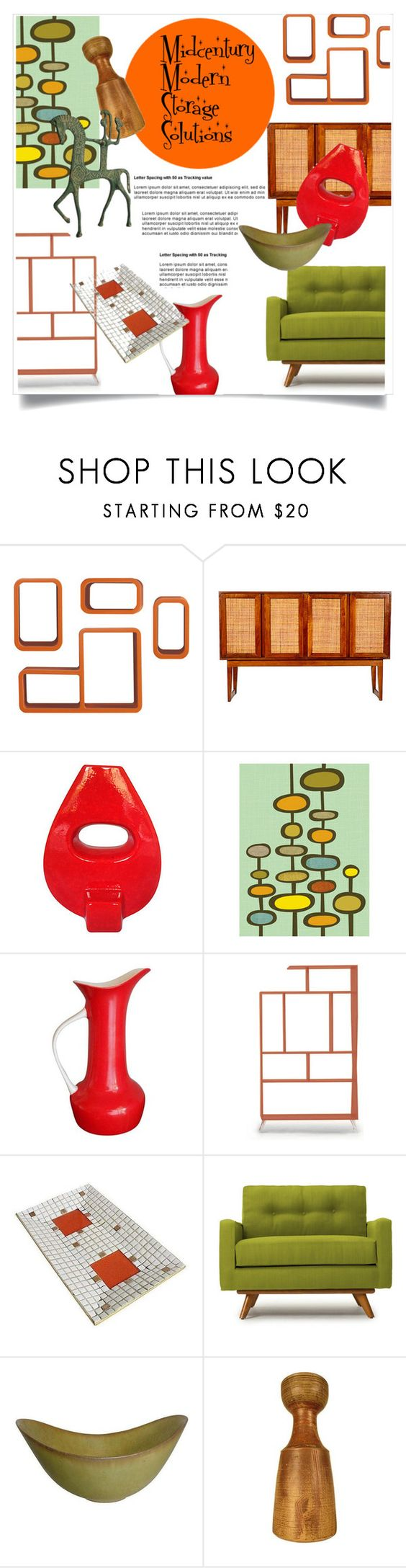"""""""Midcentury Modern Storage Solutions"""" by metter1 ❤ liked on Polyvore featuring interior, interiors, interior design, home, home decor, interior decorating, Dot & Bo, Joybird Furniture, Thrive and modern"""