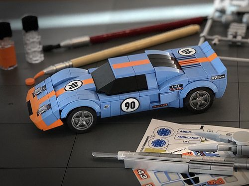 Lego Ford Gt40 In Gulf Oil Colours The Brothers Brick Lego