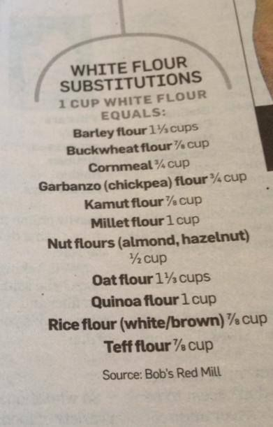 White flour substitutions: