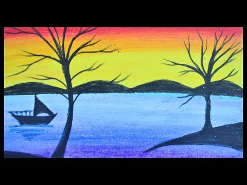 Oil Pastel Drawing How To Draw A Simple Scenery Drawing With Oil Pastel Youtube Simple Canvas Paintings Oil Pastel Drawings Oil Pastel Paintings