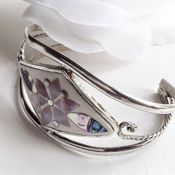 For Her, Vintage Bracelet, Mexican Apaca Bracelet, Cuff Bracelet, Silver Cuff Bracelet,Vintage Cuff Bracelet, Vintage Silver Cuff Bracelet