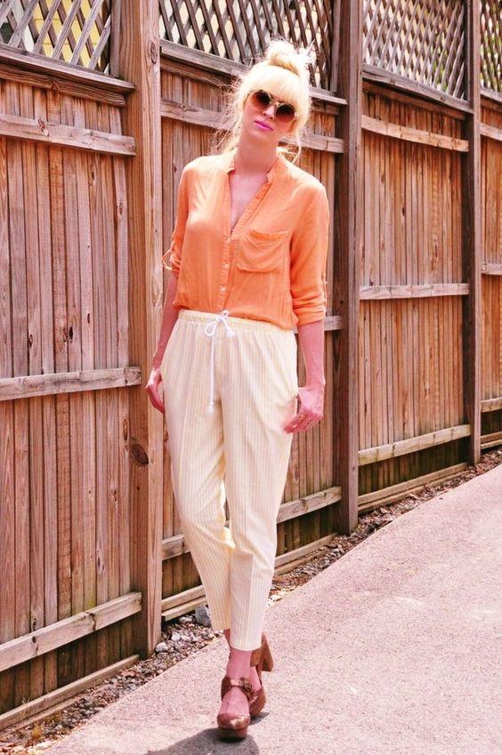 Image of Yellow Pinstripe Pants