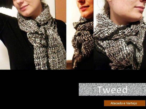 cachecol em padrão Tweed cinza e preto - 5° Essência