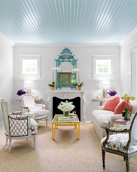 Every beach house should have a sky blue ceiling.  Full home in our newest issue, #OnStandsNow. (: James Merrell | Design: @toddaromano) #instadesign #homedecor: