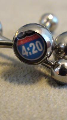 """Tongue ring  """"highway 4:20"""""""