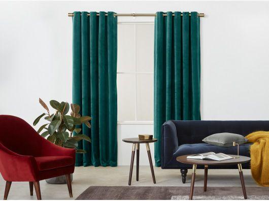 2 X Julius Velvet Eyelet Lined Pair Of Curtains Teal Blue 168 X